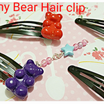 Gummy bear hair clip made of Polymer clay,Cute Bear Hair clips,Kawaii hair clips